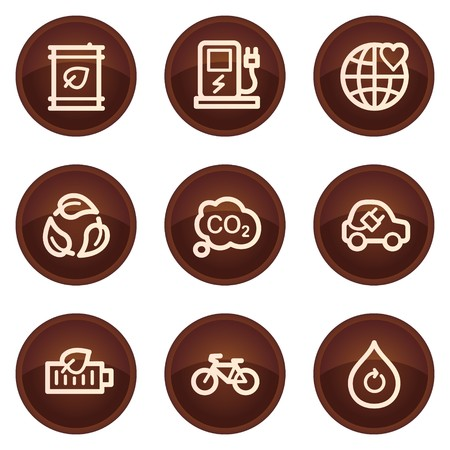 electro world: Ecology web icons set 4, chocolate buttons Illustration
