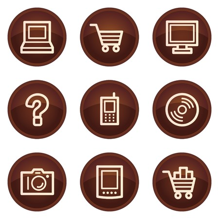 Electronics web icons set 1, chocolate buttons Vector