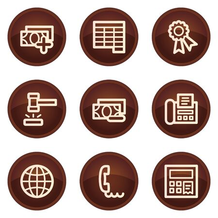 Finance web icons set 2, chocolate buttons Stock Vector - 7422804