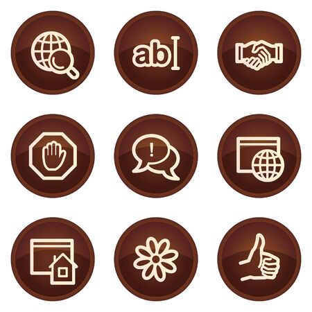 icq: Internet web icons set 1, chocolate buttons Illustration