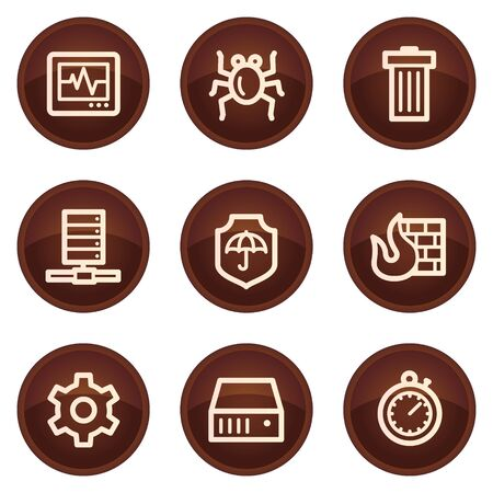 Internet security web icons, chocolate buttons Stock Vector - 7422806