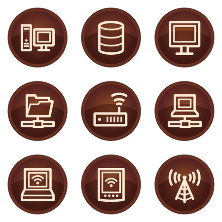 Network web icons, chocolate buttons Stock Vector - 7422778