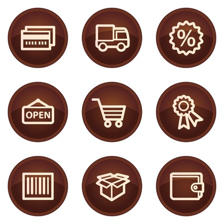 Shopping web icons set 2, chocolate buttons Stock Vector - 7422792