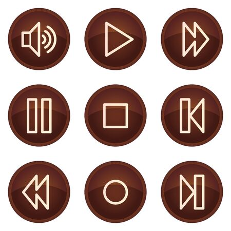 Walkman web icons, chocolate buttons Stock Vector - 7422732