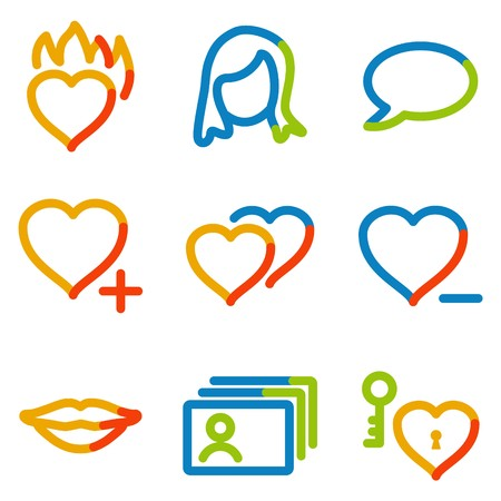 dating icons: Dating icons, color contour series