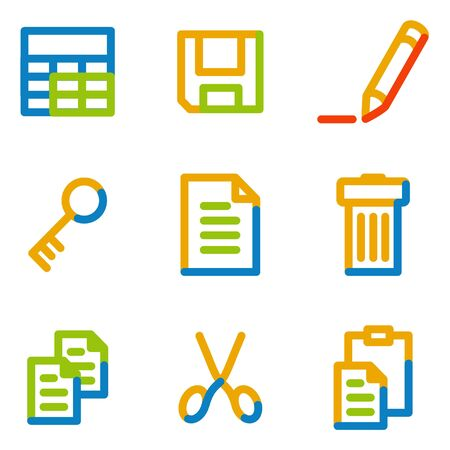 Document icons set 1, color contour series Vector