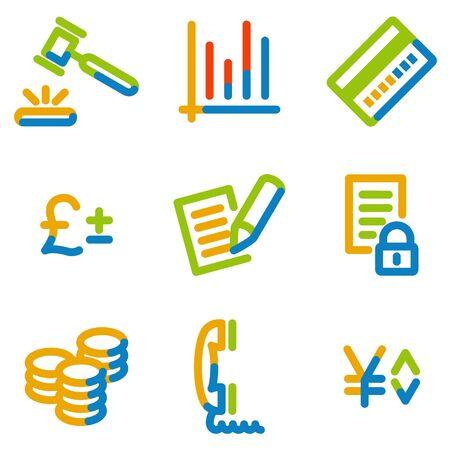 E-business icons, color contour series Vector