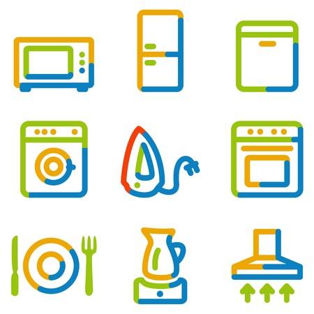 Home appliances icons, color contour series Stock Vector - 7426232