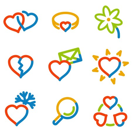 Love icons, color contour series Stock Vector - 7426238