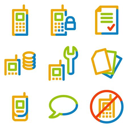 prepaid card: Mobile phone icons set 1, colour contour series