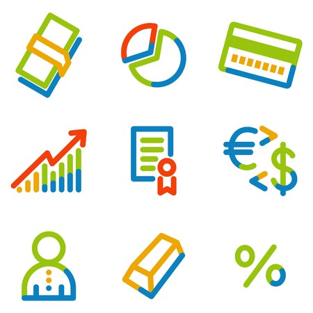 Money icons, colour contour series Stock Vector - 7426233