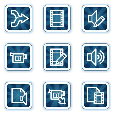 videocamera: Audio video edit web icons, navy square buttons