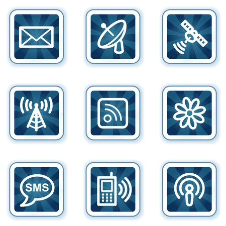 Communication web icons, navy square buttons Vector
