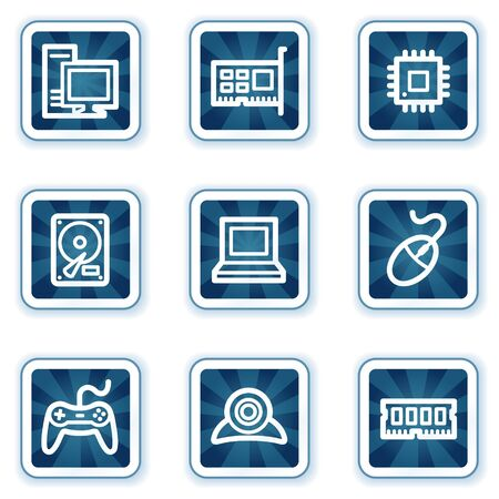 webcamera: Computer web icons, navy square buttons