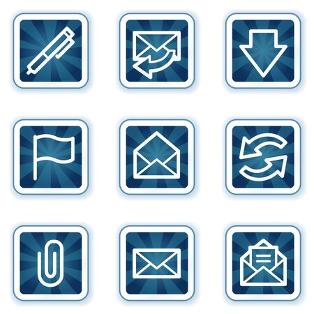 E-mail web icons set 1, navy square buttons Stock Vector - 7426252