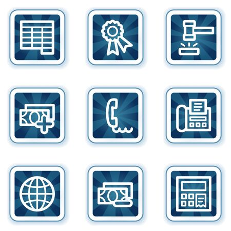 Finance web icons set 2, navy square buttons Stock Vector - 7426287