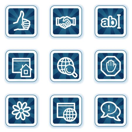 Internet web icons set 1, navy square buttons Vector