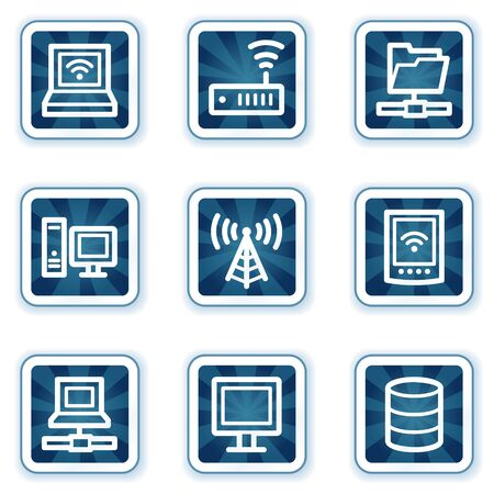 access point: Network web icons, navy square buttons