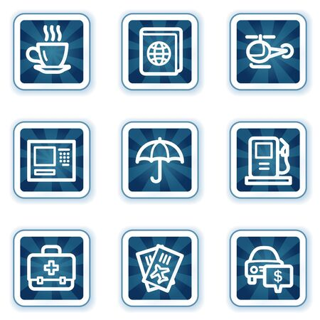 Travel web icons set 4, navy square buttons Vector