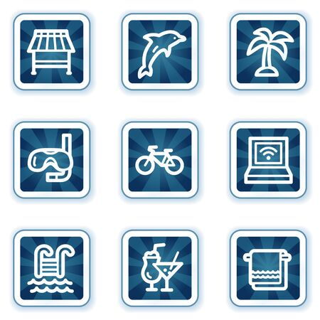 Vacation web icons, navy square buttons Vector