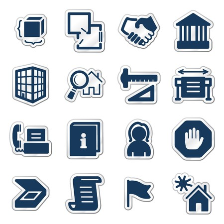 Building web icons, navy sticker series Иллюстрация