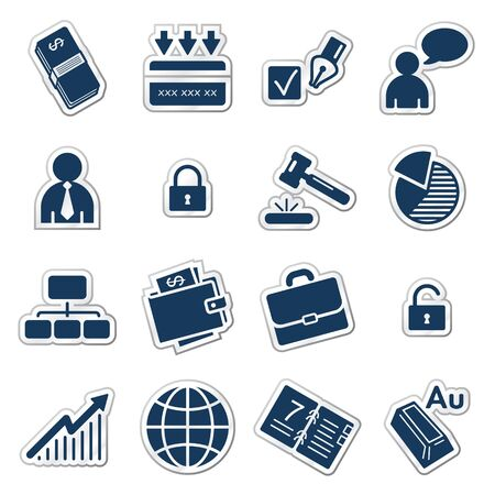 Business web icons, navy sticker series Stock Vector - 7426306