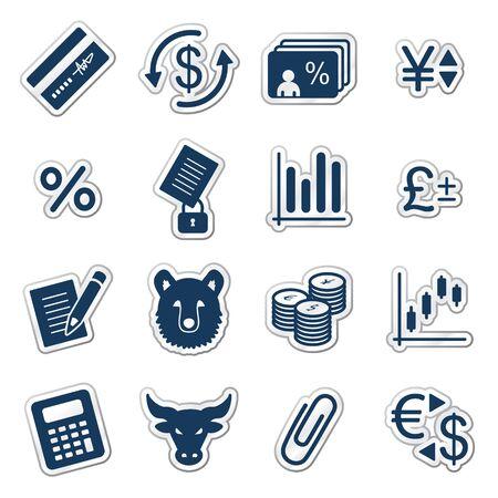 Finance web icons, navy sticker series Vector
