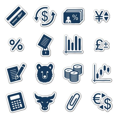 mastercard: Finance web icons, navy sticker series