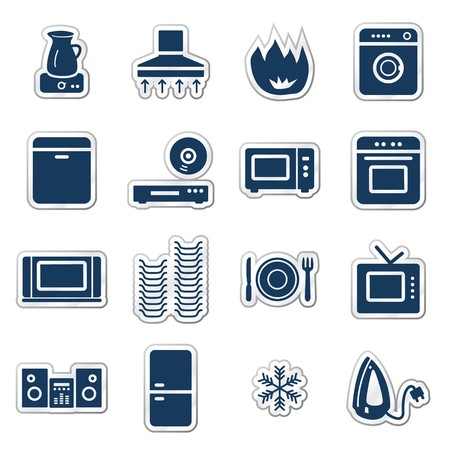 Home appliances web icons, navy sticker series Stock Vector - 7426307