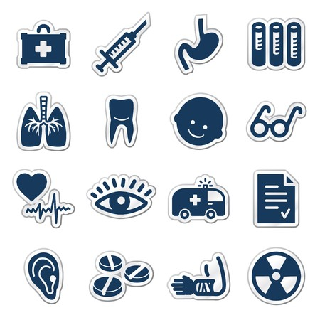 Medicine web icons, navy sticker series
