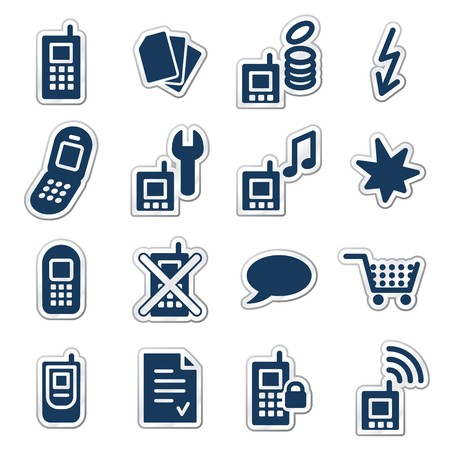 Mobile phones web icons, navy sticker series Vector