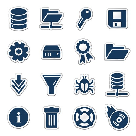 Server web icons, navy sticker series