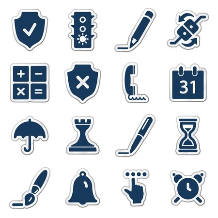 Software web icons, navy sticker series Vector