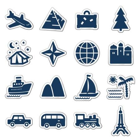 azul marino: Serie de pegatina de iconos, Marina de web de viajes  Vectores