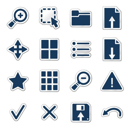 thumbnails: Viewer web icons, navy sticker series