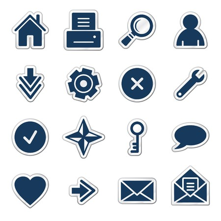 Basic web icons, navy sticker series Иллюстрация