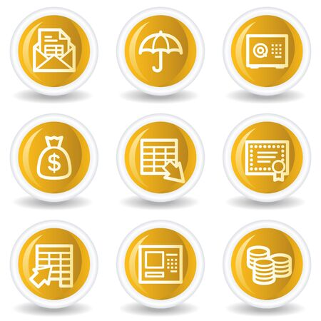 Banking web icons, yellow glossy circle buttons Vector