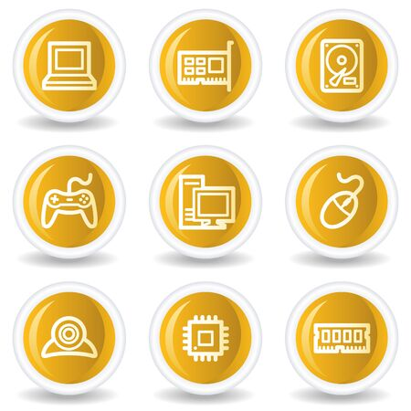 nettop: Computer web icons, yellow glossy circle buttons