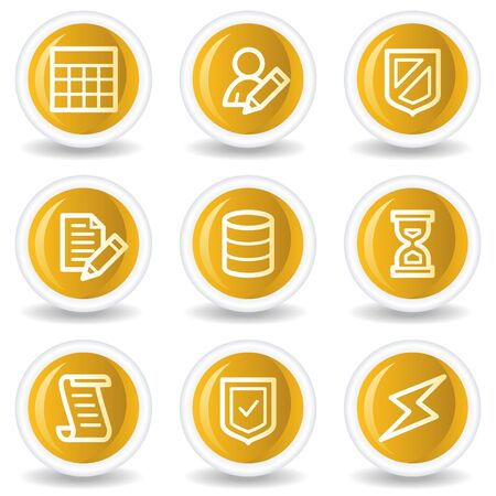 Database web icons, yellow glossy circle buttons Stock Vector - 7445602