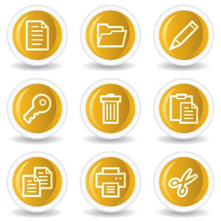 Document web icons set 1, yellow glossy circle buttons Vector
