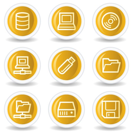 fdd: Drives and storage web icons, yellow glossy circle buttons