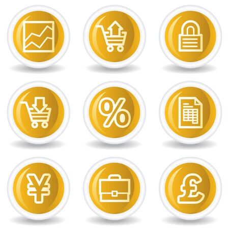 E-business web icons, yellow glossy circle buttons Stock Vector - 7445624