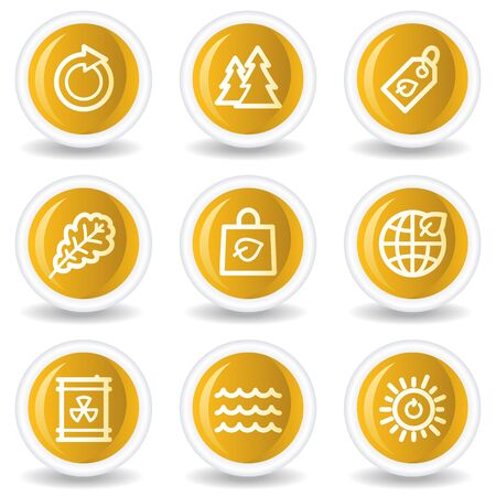 Ecology web icons set 3, yellow glossy circle buttons Stock Vector - 7445635