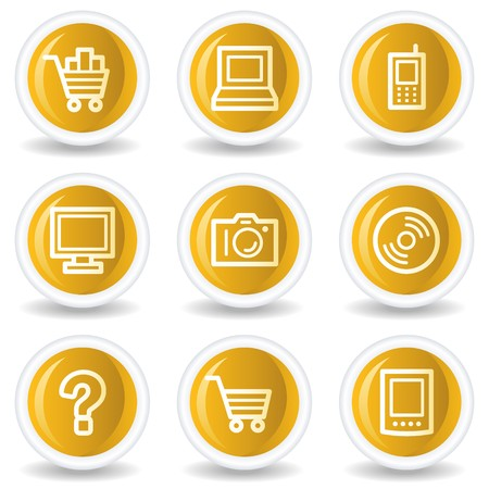 pc icon: Electronics web icons set 1, yellow glossy circle buttons