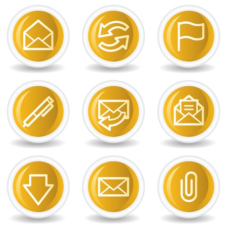 webmail: E-mail web icons, yellow glossy circle buttons