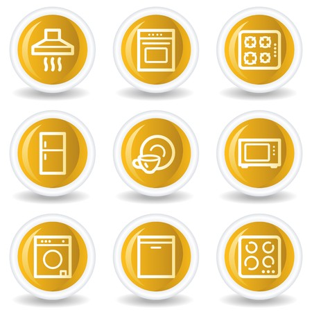 gas laundry: Home appliances web icons, yellow glossy circle buttons