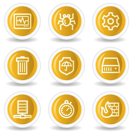 Internet security web icons, yellow glossy circle buttons Stock Vector - 7445652