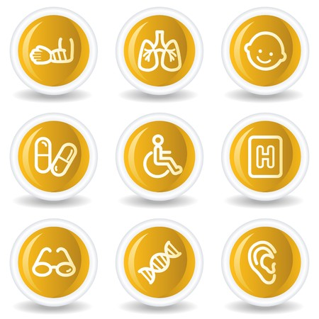Medicine web icons set 2, yellow glossy circle buttons Vector