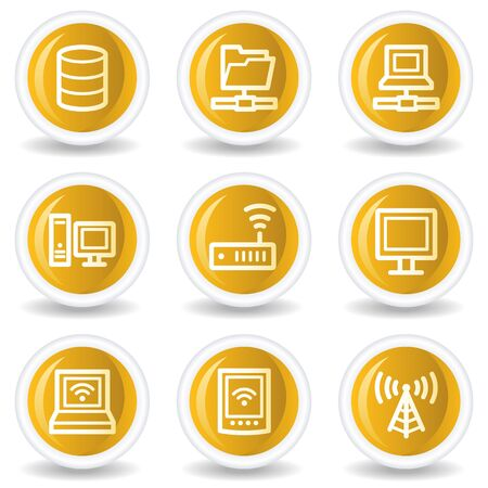 access point: Network web icons, yellow glossy circle buttons