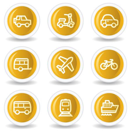 Transport  web icons, yellow glossy circle buttons Stock Vector - 7445633